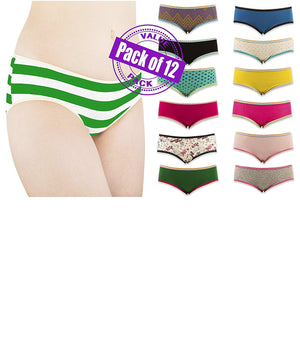 Sexy Women's 12 Pack Cotton Spandex Flexible Fit Hipster Panties