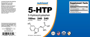 [Pack of 2] Nutricost 5-HTP 100mg; 240 Capsules Each (2 Bottles)