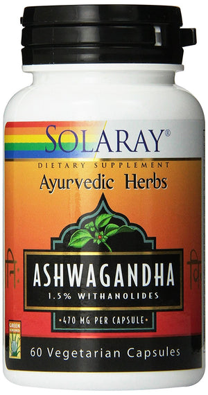 [Pack of 2] Solaray Ashwagandha Extract, 470mg, 60 Count Each