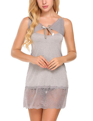 Women's Sleepwear V Neck Keyhole Bow Tie Mini Sexy Babydoll Lace Hem Lingerie Full Slip Lounge Under Dresses