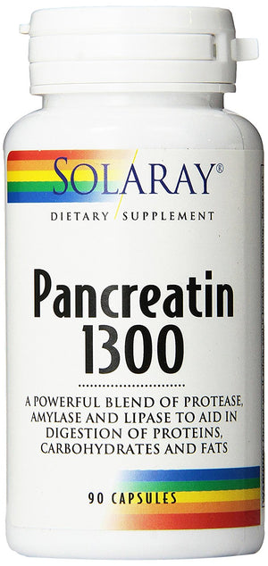[Pack of 2] Solaray Pancreatin Supplement, 1300 mg, 90 Capsules Each