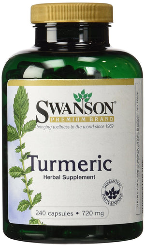 [Pack of 2] Swanson Premium Brand Turmeric Whole Root Powder 720 mg, 240 Capsules-2 Count,