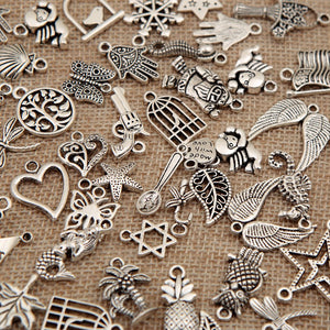 Bingcute 100Pcs Wholesale Bulk Lots Tibetan Silver Plated Mixed Pendants Charms Jewelry