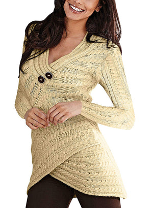 Lovezesent Women V Neck Cable Knitted Wrap Pullover Sweaters with Button Detail