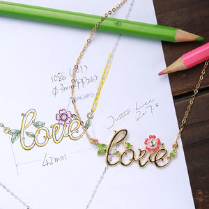 """ Only Love"" Script Necklace,Crystal from Swarovski,Wedding Birthday Anniversary Gifts for Women"