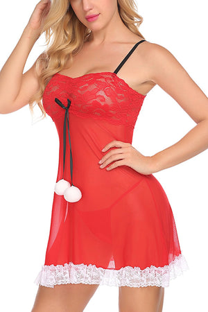 Women's Santa Lingerie Red Christmas Babydoll Set Chemises Outfit Lace Sleepwear