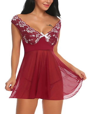 Lace Babydoll Lingerie Mesh Chemises Sexy Outfits Nightwear and G-string