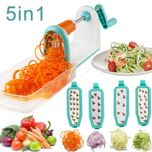 Vegetable Spiralizer, Upintek 5 Blade Spiral Vegetable Slicer with Food Container and Strong Hold Suction for Spiral Vegetable Cutter, Veggie Pasta Spaghetti Slicer and Zucchini Noodles Maker(Blue)