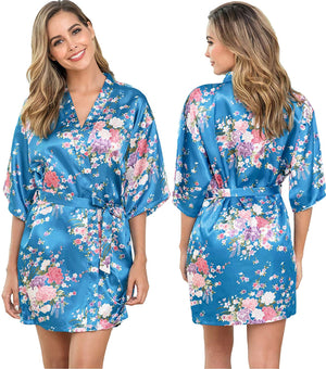 Women's Floral Satin Robe Silk Bride Bridesmaid Robe for Wedding Party