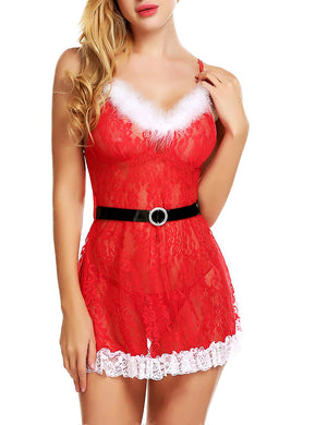 Sexy Christmas Lingerie Red Babydoll Chemise Lace Nightdress S-XXL