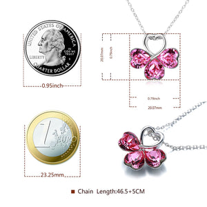 """ Good Luck"" Pink Heart Pendant Necklace with Four Leaf Clover Shape, Crystal from Swarovski"