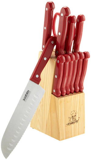 Chef 13-Piece Knife Set with Block, Red