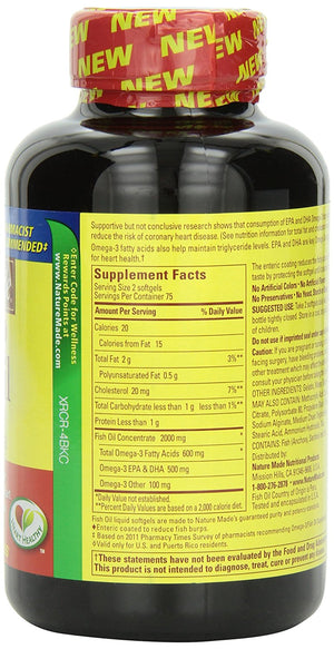 [Pack of 2] Nature Made Fish Oil 1000 Mg, 300 Mg OMEGA-3, 150 Softgels Each