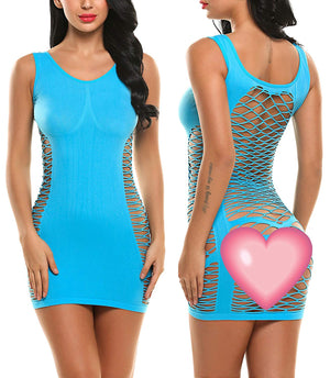 Women's Fishnet Lingerie Mesh Hole Strap Chemise Badydoll Mini Dress