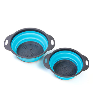"2 Piece Collapsible Colander Strainer Set - 8"" (2 Quart) and 9.5"" (3 Quart) Teal & Grey Finish"