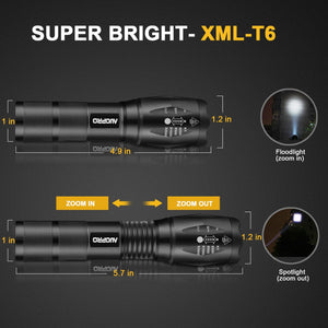 Super Bright LED Tactical Flashlight Pack of 4, Zoomable Handheld Torch Light, 800 Lumens CREE XML-T6, 5 Modes for Home Emergency Camping Hiking EDC
