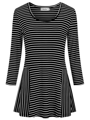 Sixother 3/4 Sleeve Striped Dressy Tunic Tops Scoop Neck Casual Blouse Shirts