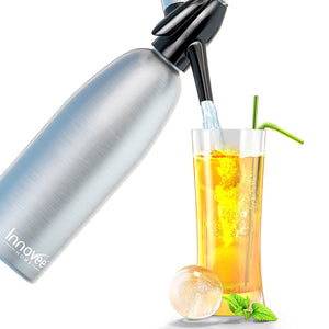 Innovee Soda Siphon - Ultimate Soda Maker - Aluminum - 1 Liter - With Free Cocktail Recipes (e-book)
