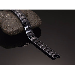 Hottime Double Row Black Gun Plated Negative Ion Germanium Bracelet Men's Fashion 4 IN 1 Bio Energy Magnetic Titanium Jewelry 10