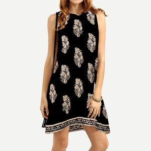 Women's Sleeveless Loose Keyhole Tunic Floral Print Retro Short Mini Dress