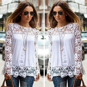 WantLH 2017 spring Women Blouse Lace Vintage long Sleeve White Renda Crochet Casual Shirts Tops
