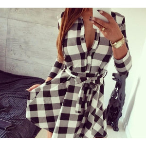 New Women's Fashion Long Sleeve Spring Autumn Skirt Slim Grid Dress