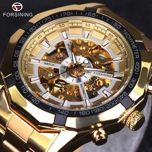 Mens Skeleton Mechanical Watch Brand Stainless Steel Band with Gift Box  Men''s Fashion Sport Watches Hollow Out Wristwatch