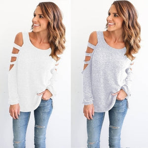 Women Solid Color Strapless Shirt Loose Sexy Autumn Casual Tee  Crisscross Hollow Out Open Shoulder T-Shirt