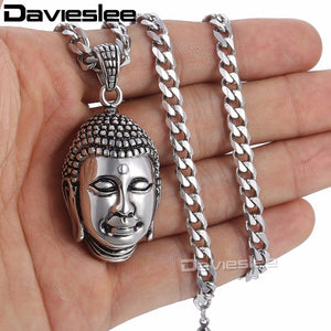 Davieslee Jewelry Mens Stainless Steel Buddha Pendant Necklace Chain Valentine's Day Gift