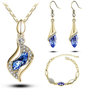 HEXINMODA Elegant Luxury Design New Fashion 18k Rose Gold Plated Colorful Austrian Crystal Drop Jewelry Sets Women Gift
