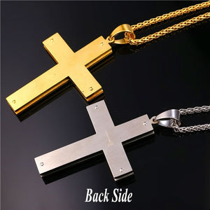 Men's English Lord's Prayer Necklace With 22 Inch Stainless Steel/18K Gold Plated Wheat Chain Christain Jewelry Simple Cross Pen