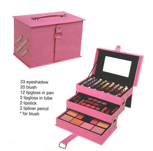 BR All In One Makeup Kit (Eyeshadow, Blushes, Powder, Lipstick & More) Holiday Gift Set (LightPink)