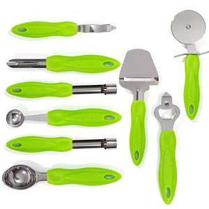 9-Piece Stainless Steel Kitchen Gadgets Tools Set, Pizza Cutter, Can Opener, Peeler, Ice Cream Scoop, Melon Baller, Corer, Swivel Peeler, Cheese Shaver with Metal Stand