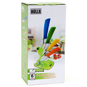 6 Piece Ceramic Blade Multi Color Kitchen Knife Set With Acrylic Stand