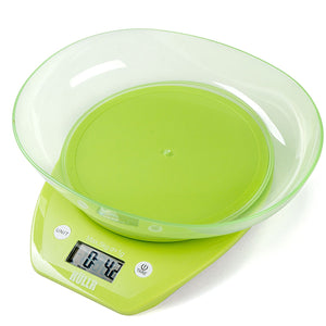 Multifunction Digital Kitchen Food Scale With Bowl 11Lb 5Kg (Batteries Included) (Green)