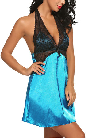 Women's Halter Satin Nightgown Lace Cup Mini Slip Nightie