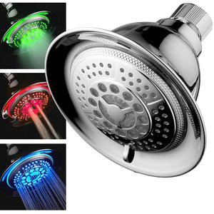 All Chrome Water Temperature Controlled Color Changing 5-Setting LED Shower-Head by Top Brand Manufacturer! Color of LED lights changes automatically according to water temperature