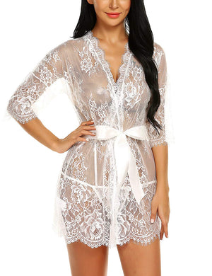 Women's Kimono Eyelash Lace Robe Babydoll Lingerie Mesh Chemise Nightdress Nightgown