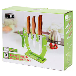 Ceramic Blade Bamboo Handle 5 Piece Kitchen Knife Set