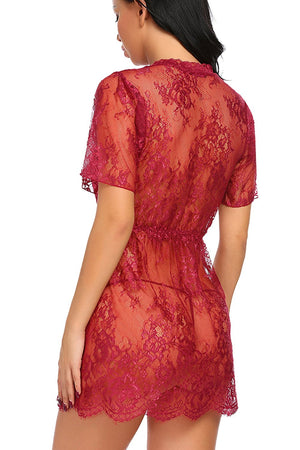 Women Lingerie Lace Smock Transparent Babydoll Mesh Nightgowns