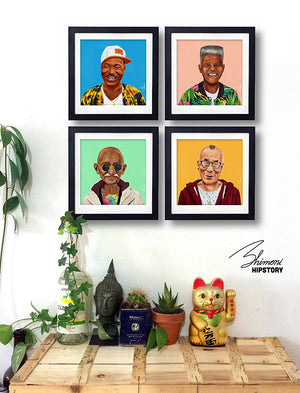 Wall Art - Modern Art Prints The Colorful Hipstory Project Of Famous Leaders In History Painted As Hipsters. Unique Painting Technique And Perfect Wall Decor. 4 Unframed Pieces Set 4x11.5x11.5 Inch
