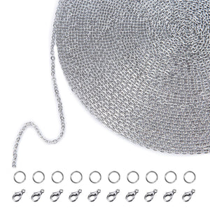 33 Feet Stainless Steel DIY Link Chain Necklaces with 20 Lobster Clasps and 30 Jump Rings for Jewelry Making (1.5 mm)