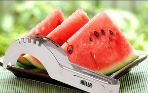 Stainless Steel Watermelon & Melon Slicer Cutter Set Includes 5 Fruit Fork Picks With Stand