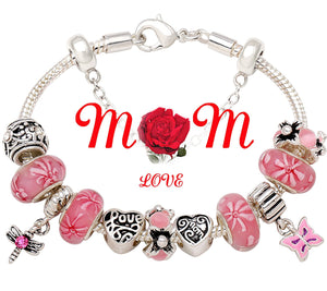 """A Garden Of Love Grows In A Mother's Heart"" Pink Flower Bead Charm Silver-tone Bracelet"