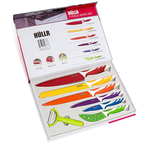 7 Piece Kitchen Knife Set Stainless Steel Knives With Multi Colored Non-Stick Coating Includes Ceramic Peeler Gift Box