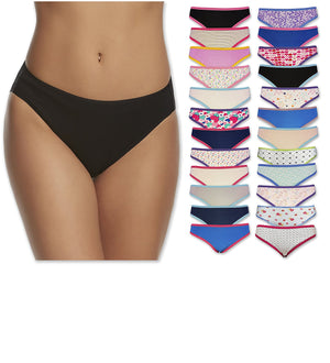 Women's Super Value 24 Pack Hi - Cut Cotton Soft Bikini Panties