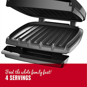 George Foreman 4-Serving Nonstick Classic Contact Grill, Black, GR340FB