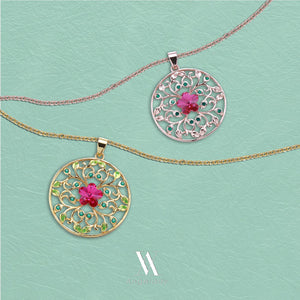 """ Garden of Dreams"" Filigree Circle Pendant Necklace,Crystal from Swarovski,gifts for women birthday"