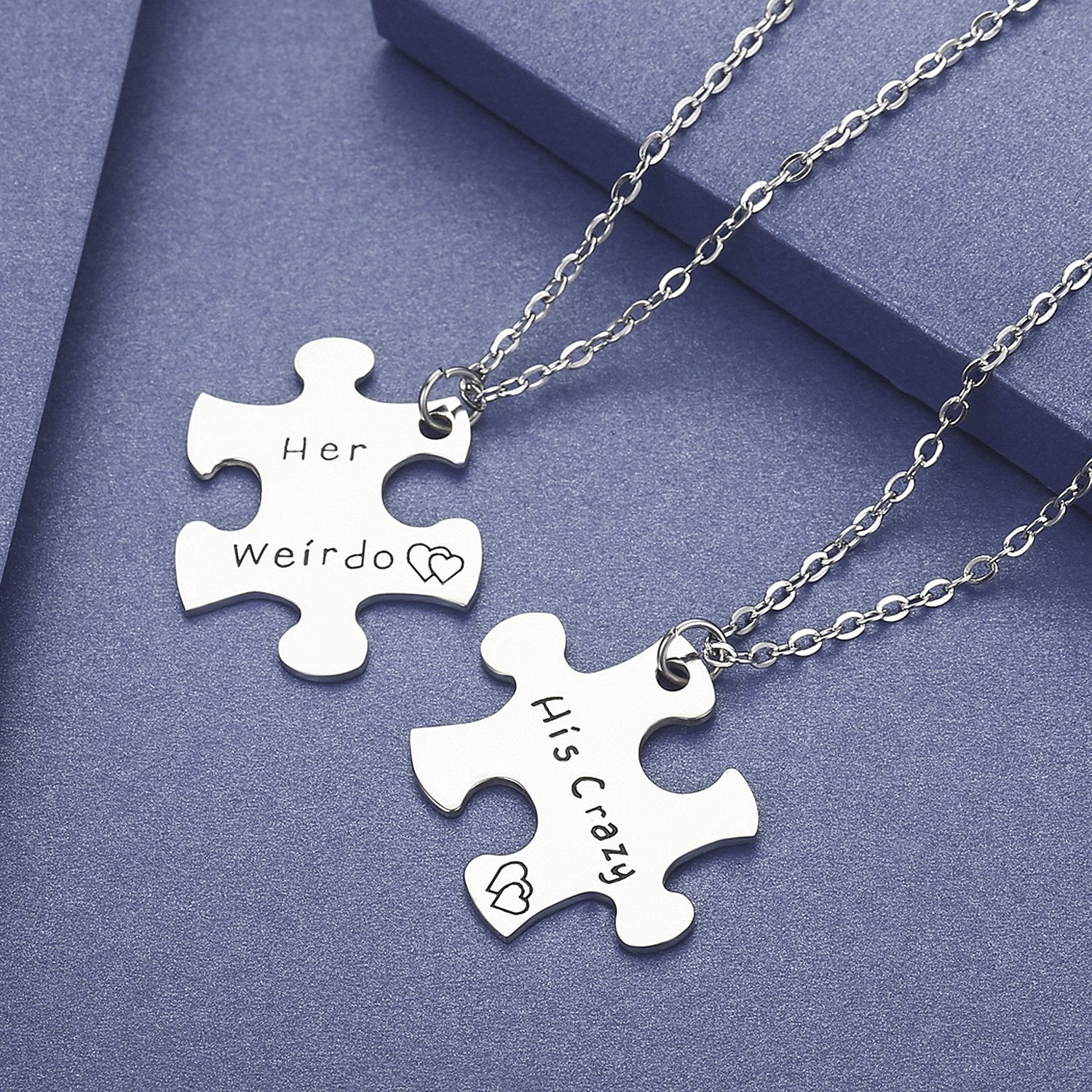8622a12341 ... Stainless Steel His Crazy Her Weirdo Couples Necklace Set,Personalized  Couples Jewelry,Perfect Gift ...