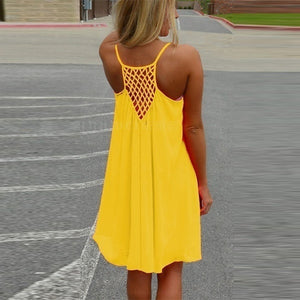 Sexy Women's Summer Casual Sleeveless Evening Party Backless Beachwear Mini Dress